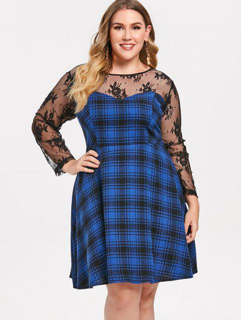 Plus Size Lace Panel Checked Skater Dress