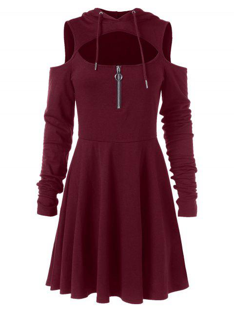 Cold Shoulder Long Sleeve Hooded Dress - RED WINE 2XL