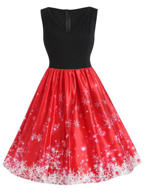 Plus Size Vintage Snowflake Christmas Dress