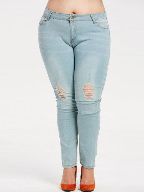 Plus Size Ripped Faded Jeans - JEANS BLUE 6X