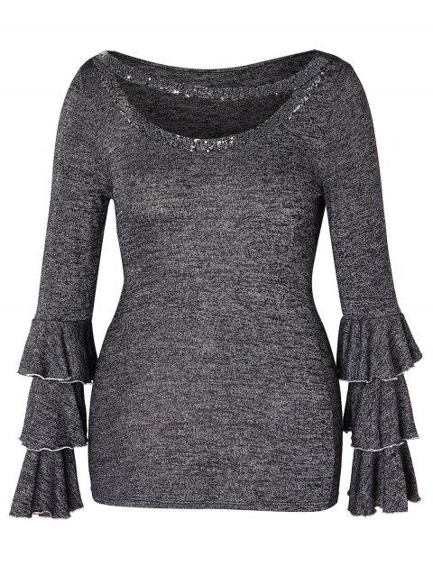 Plus Size Cut Out Sequins Layered Sleeve T-shirt - GRAY 2X