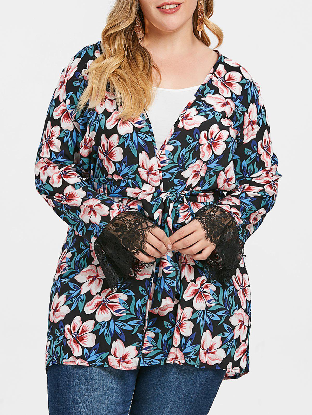 Plus Size Flower Pattern Coat with Belt