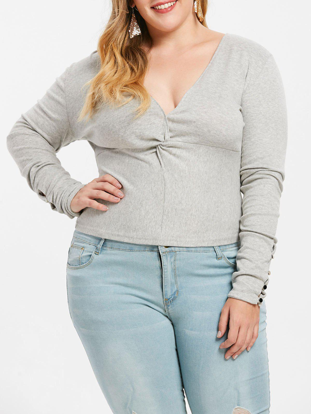 Twist Front Plus Size Plunge T-shirt