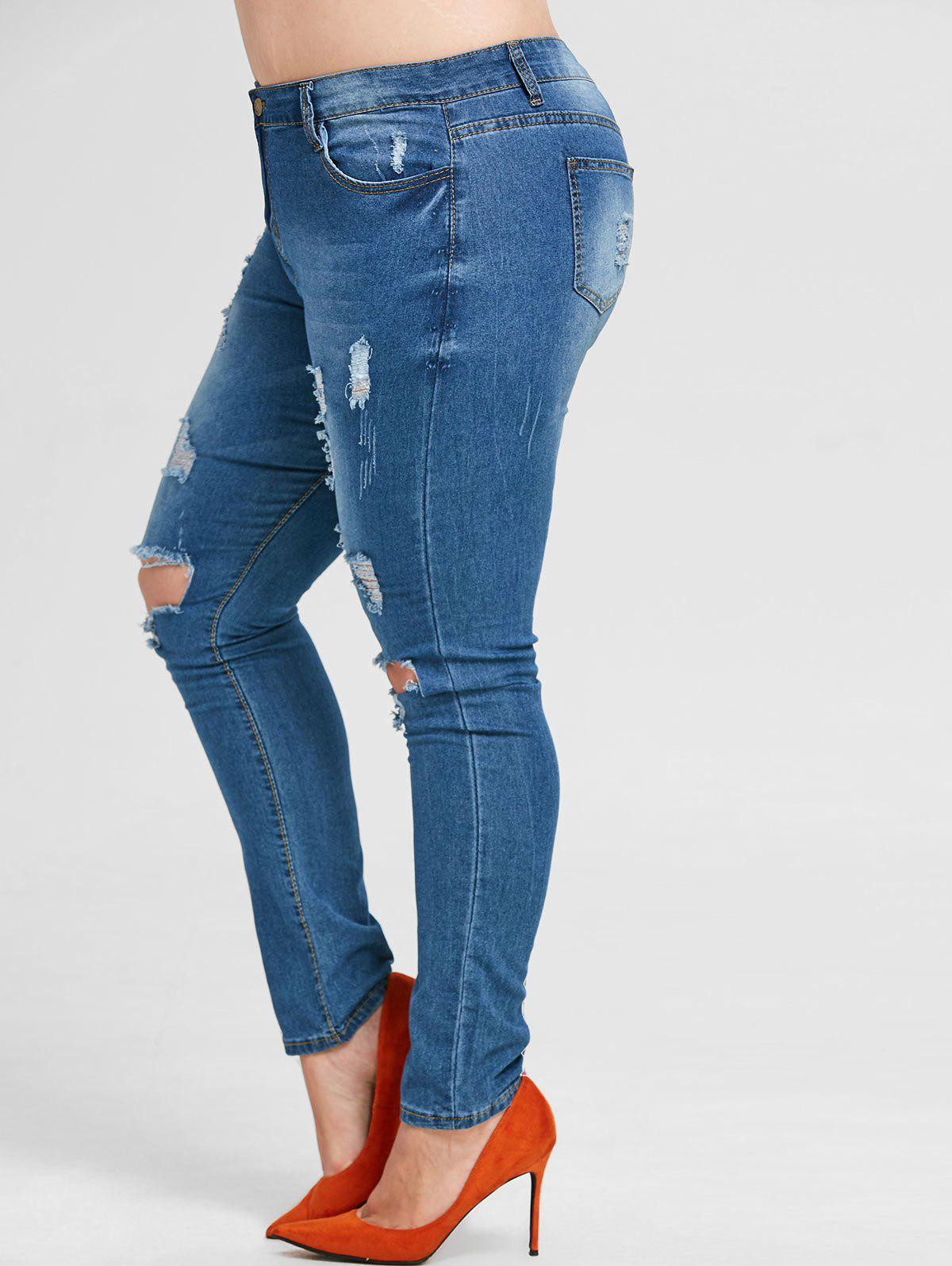 Plus Size Ripped Zip Fly Jeans - OCEAN BLUE 2X