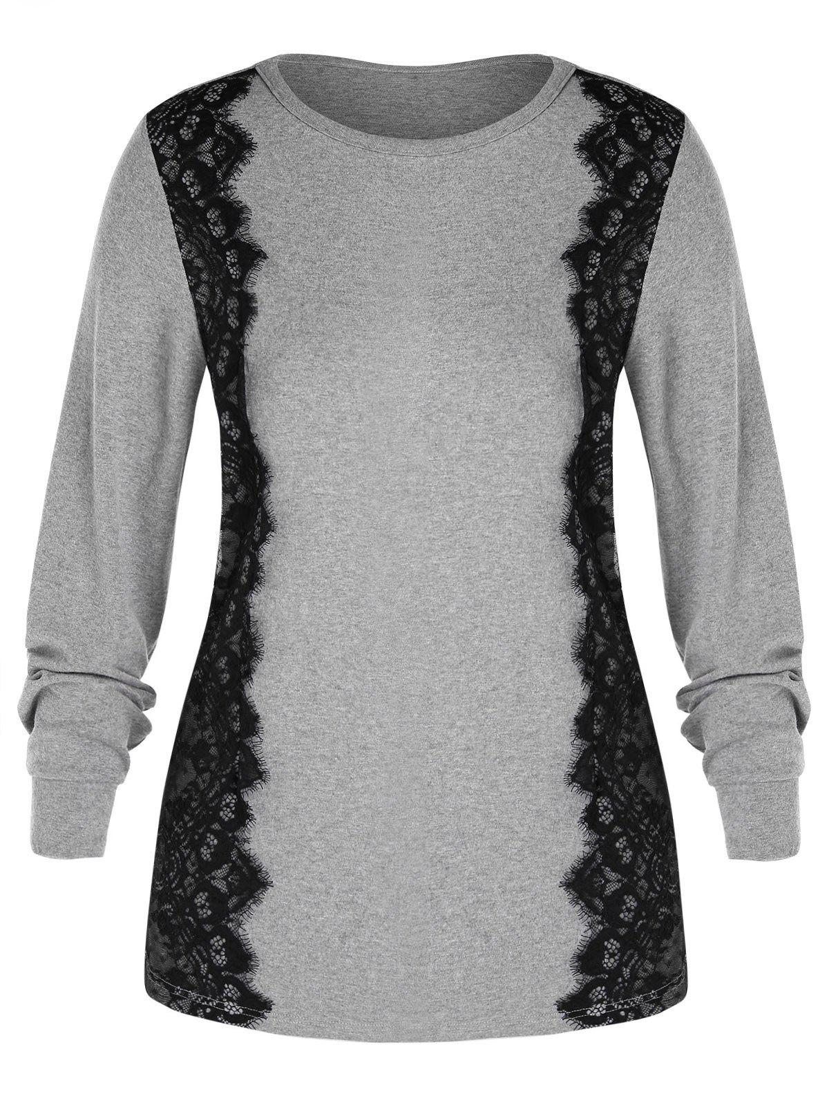 Plus Size Long Sleeve Lace Trim T-shirt