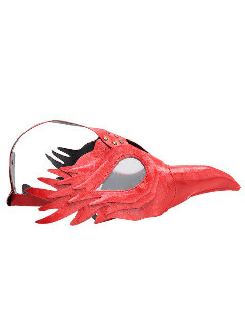 Halloween Props Faux Leather Bird Mask - RED