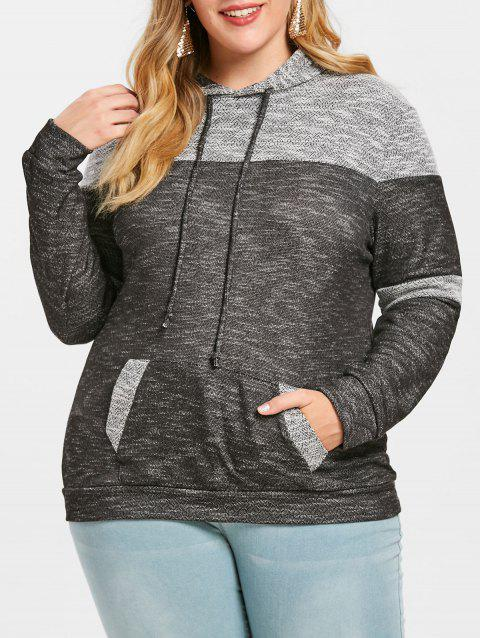 Pouch Pocket Plus Size Pullover Hoodie - GRAY 1X