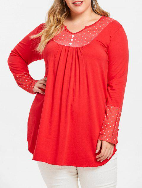 Polka Dot Long Sleeve Plus Size Tee - RED 2X