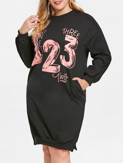 LIMITED OFFER] 2019 Plus Size Number Print Side Slit Sweatshirt ...