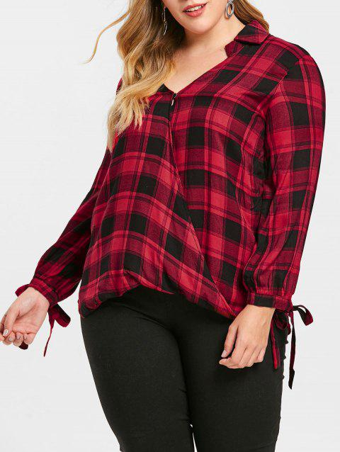 Checked Plus Size Crossover Shirt - multicolor 1X
