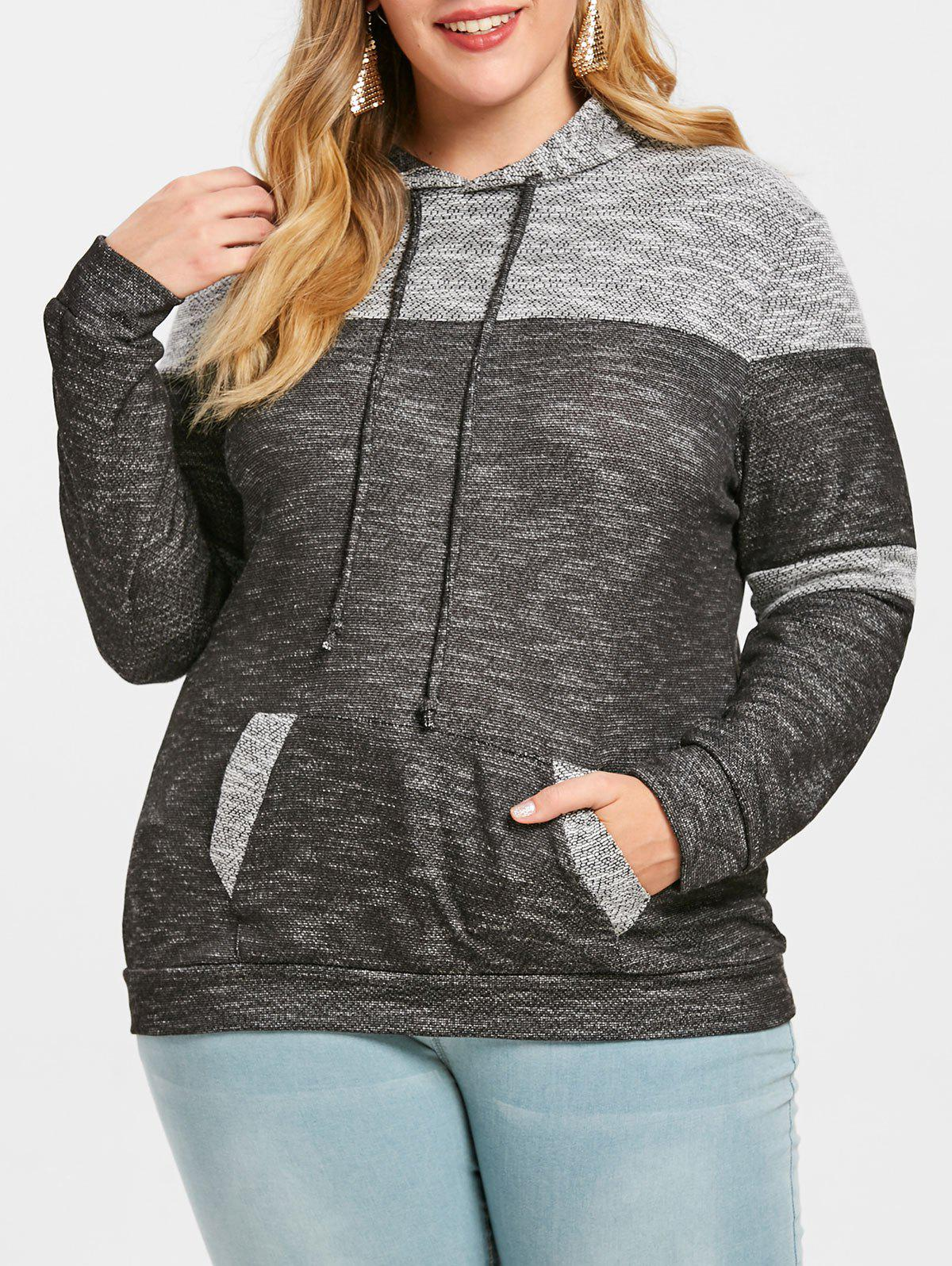Pouch Pocket Plus Size Pullover Hoodie