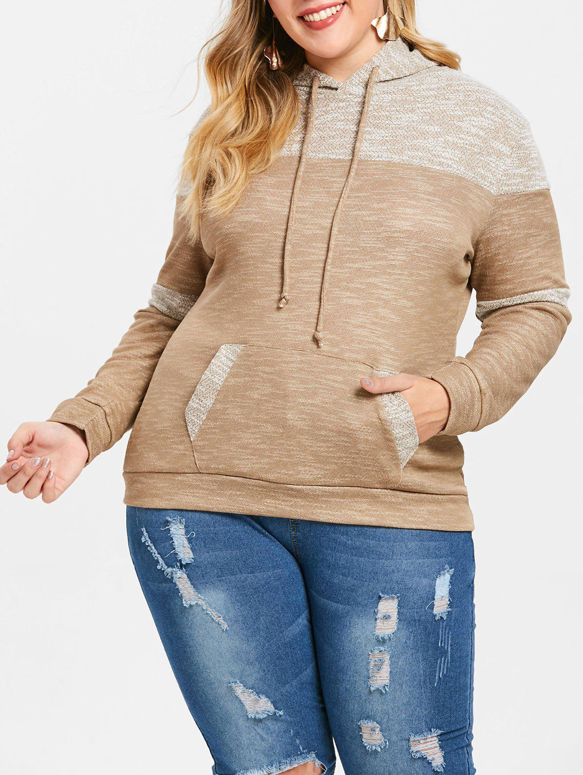 Pouch Pocket Plus Size Pullover Hoodie - LIGHT BROWN L