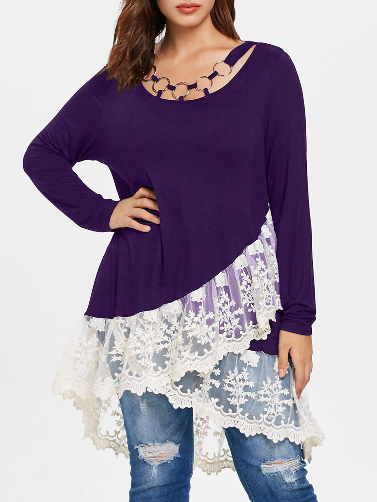 Plus Size Layered Lace Insert Tunic Tee - PURPLE IRIS L