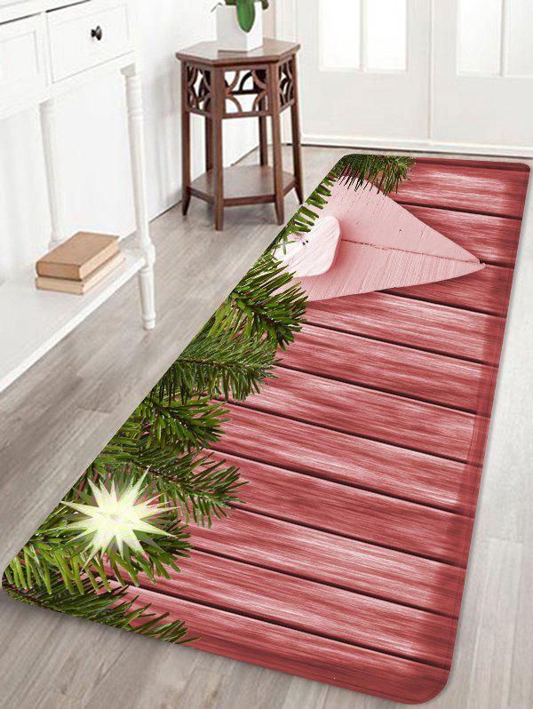Christmas Wood Grain Pattern Anti-skid Area Rug - multicolor W24 X L71 INCH