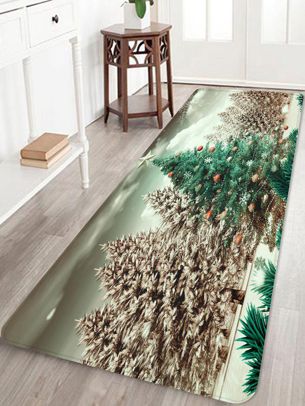 Christmas Tree Forest Print Flannel Area Rugs - multicolor W24 X L71 INCH