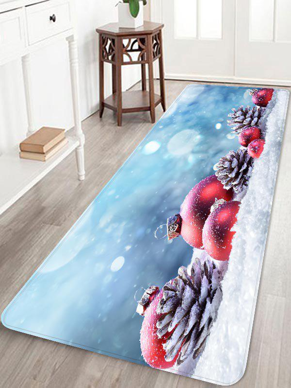 Christmas Ball Pine Cone on Snow Print Area Rugs - multicolor W24 X L71 INCH