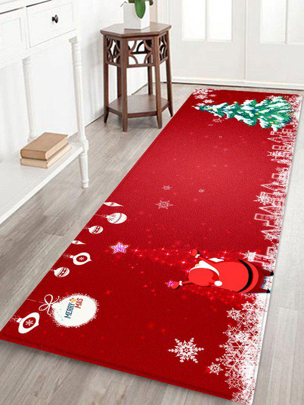 Sparkle Christmas Tree and Santa Print Area Rugs - RED W24 X L71 INCH