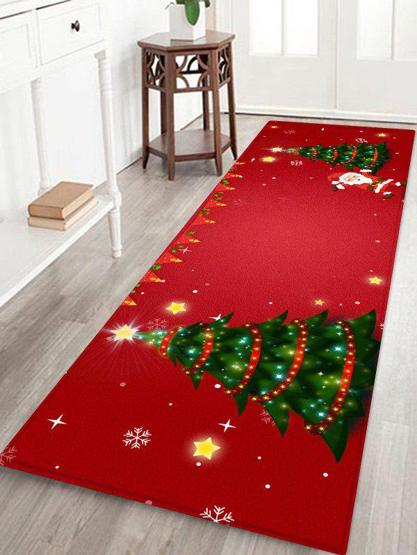 Christmas Tree and Santa Print Area Rugs - RED W24 X L71 INCH