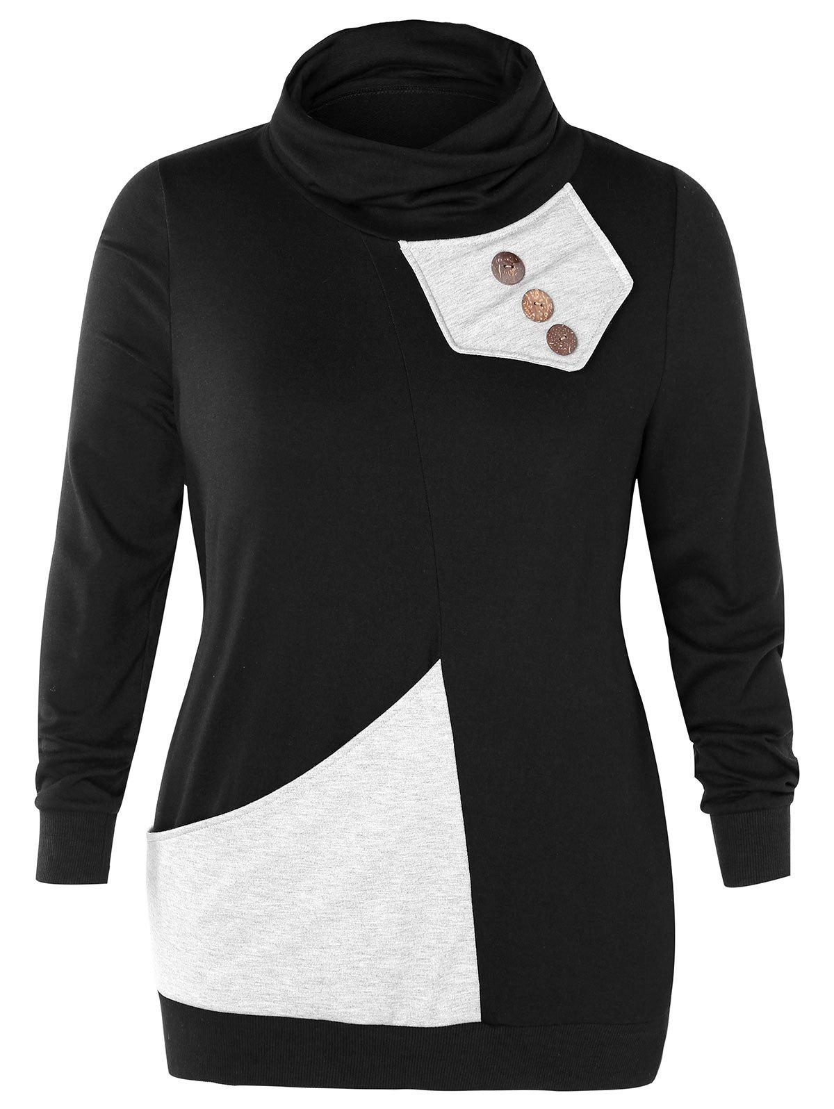 Plus Size Cowl Neck Button Embellished Sweatshirt