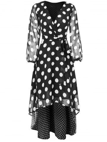 V Neck Polka Dots Maxi Chiffon Wrap Dress