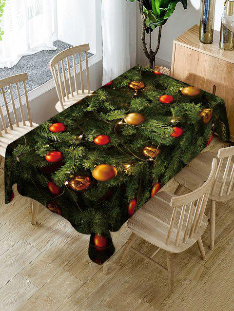 Christmas Tree Balls Print Fabric Waterproof Tablecloth - multicolor W54 X L54 INCH