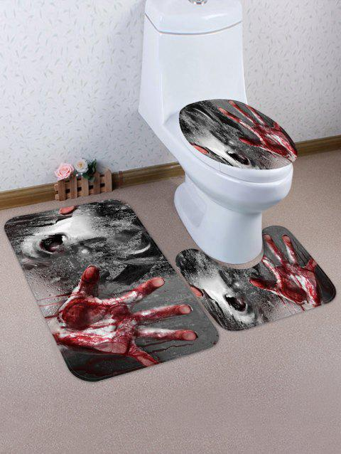 Halloween Ghost Hand Pattern 3 Pcs Toilet Mat Set - multicolor