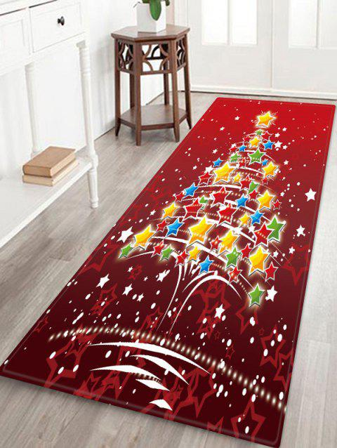 Christmas Stars Tree Pattern Anti-skid Area Rug - RED WINE W24 X L71 INCH