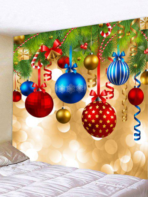 Christmas Ball Print Tapestry Wall Hanging Decoration - multicolor W91 X L71 INCH