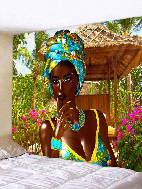 African Women Print Tapestry Wall Hanging Art Decoration - multicolor W79 X L59 INCH