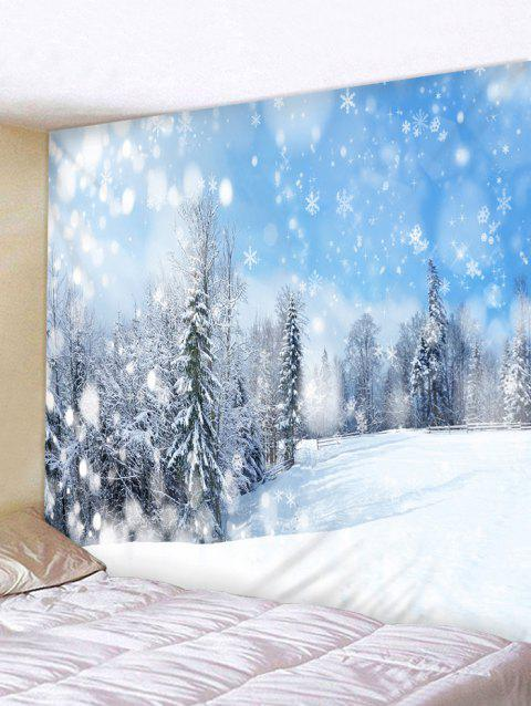 Snowy Forest Print Tapestry Wall Hanging Decor - WHITE W59 X L51 INCH