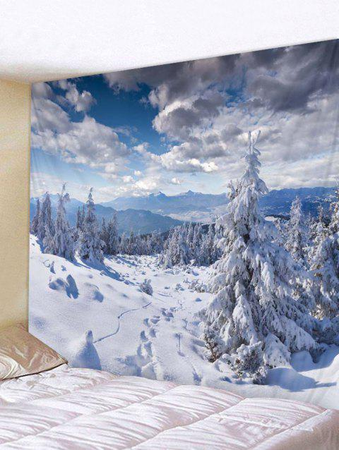Snow Mountains Print Tapestry Wall Hanging Decoration - WHITE W59 X L59 INCH