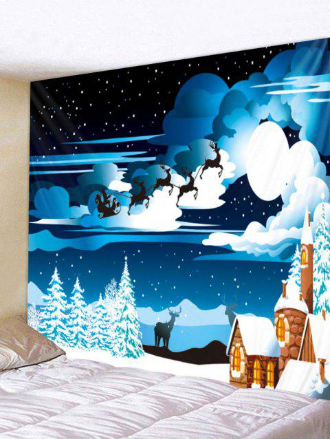 Christmas Starry Night Print Tapestry Wall Hanging Decoration - multicolor W79 X L71 INCH