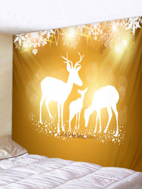 Christmas Elk Family Print Tapestry Wall Hanging Decoration - GOLDEN BROWN W91 X L71 INCH
