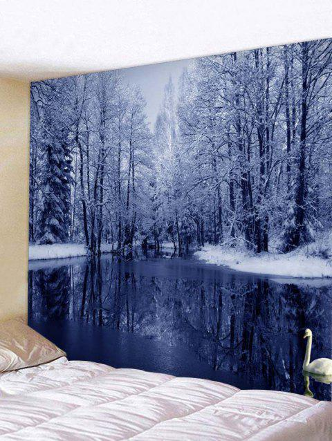 Snow Forest Lake Print Tapestry Wall Hanging Decoration - multicolor W79 X L59 INCH