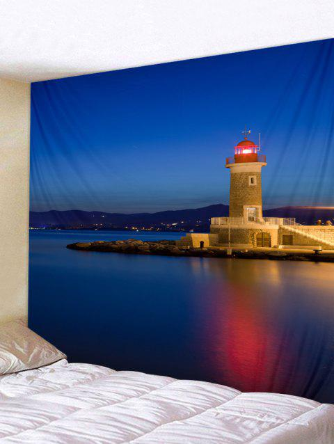 Seaside Lighthouse Print Tapestry Wall Hanging Decor - BLUE W79 X L59 INCH