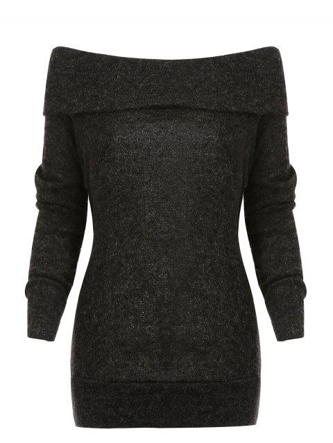 Off Shoulder Tunic Sweater - BLACK M