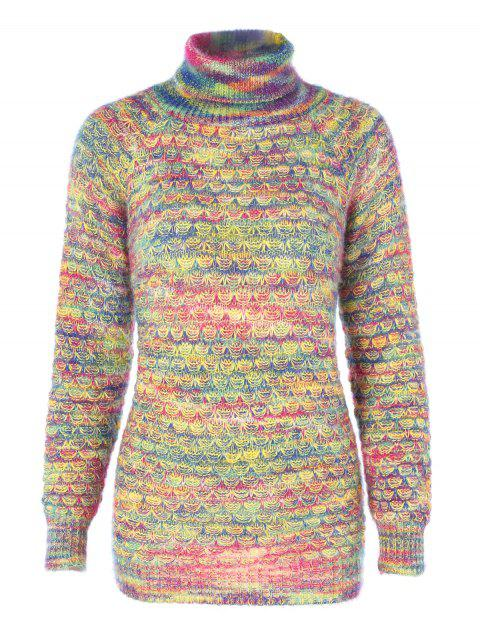 Multicolor Turtleneck Crocheted Sweater - multicolor D 2XL