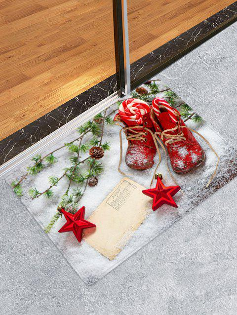 Christmas Stars Shoes Pattern Water Absorption Area Rug - multicolor W20 X L31.5 INCH