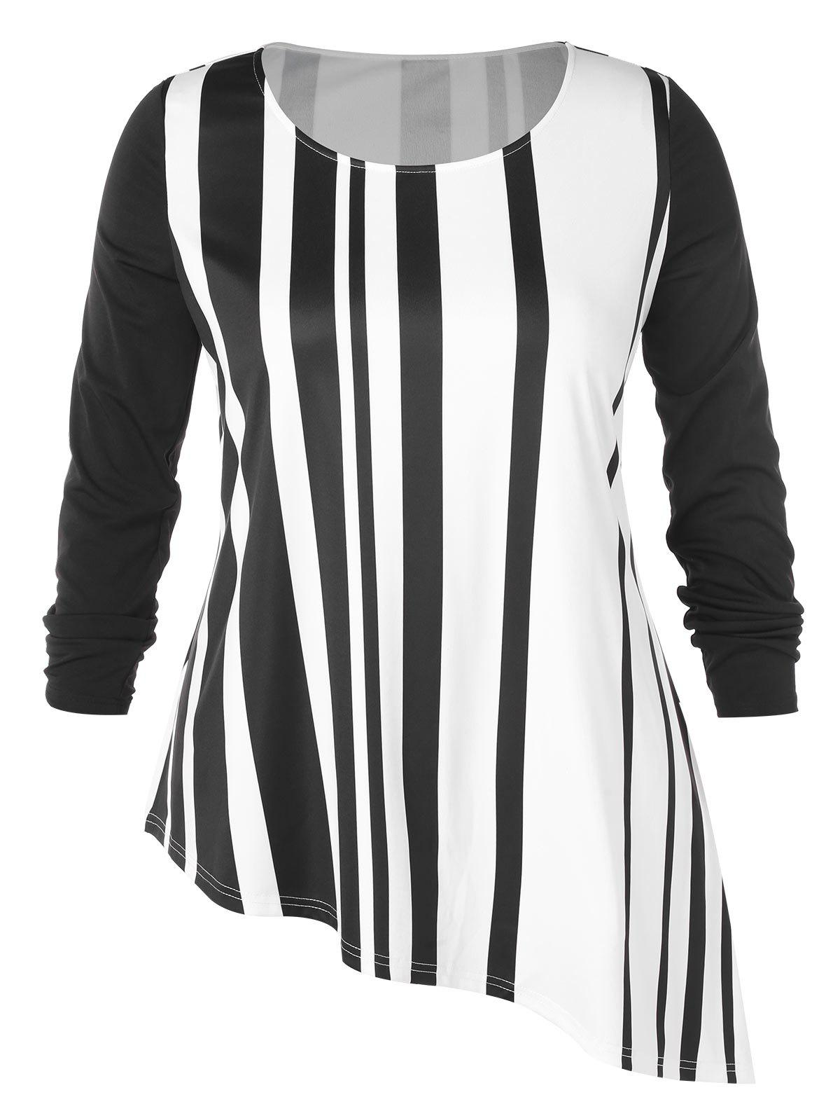 Plus Size Stripe Pattern Round Neck Asymmetric T-shirt - MILK WHITE 1X