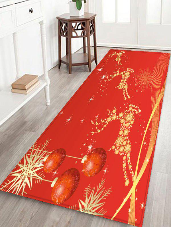 Christmas Balls Elk Pattern Water Absorption Area Rug - RED W24 X L71 INCH