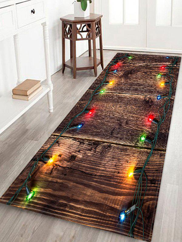Christmas Light Wood Pattern Anti-skid Area Rug - multicolor W24 X L71 INCH