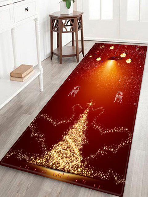 Christmas Deer Pattern Anti-skid Flannel Area Rug - RED WINE W24 X L71 INCH