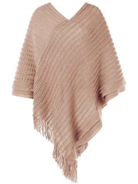 Cable Knit Fringed Sweater Cape - LIGHT KHAKI ONE SIZE