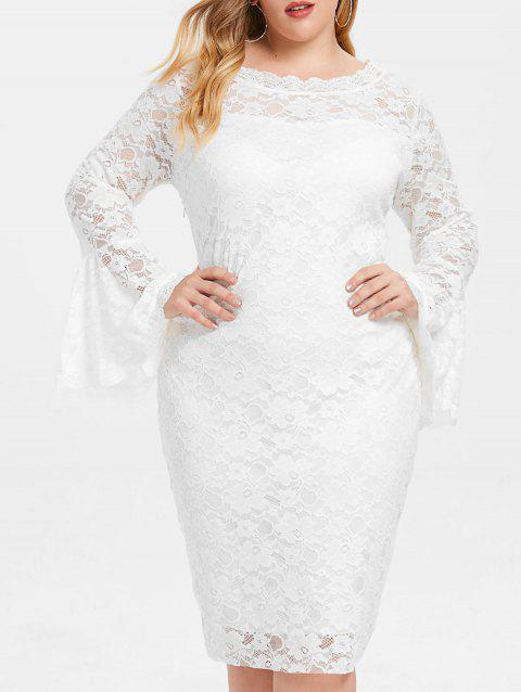 2018 Bell Sleeve Plus Size Lace Dress In White 5x Dresslily