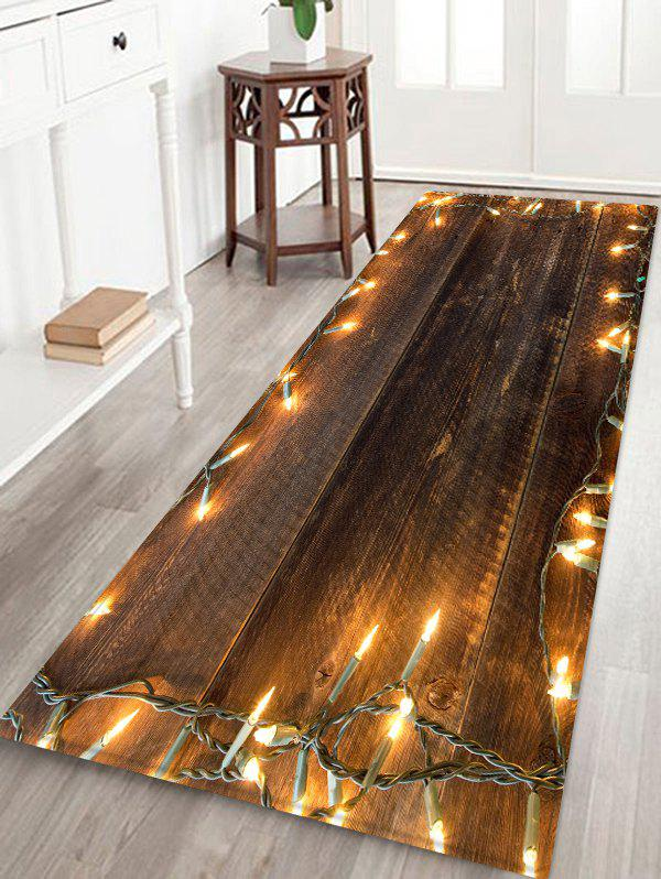 Wood and Lights Pattern Water Absorption Floor Rug - multicolor W24 X L71 INCH