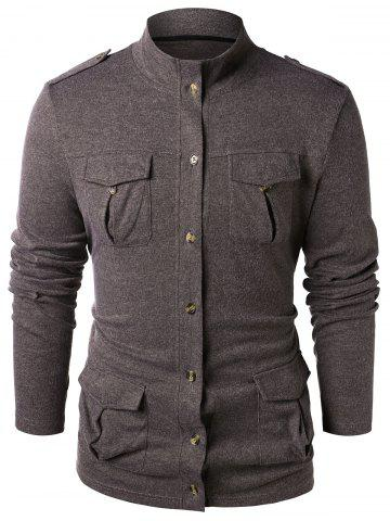 Epaulet Design Button Up Stand Collar Sweater