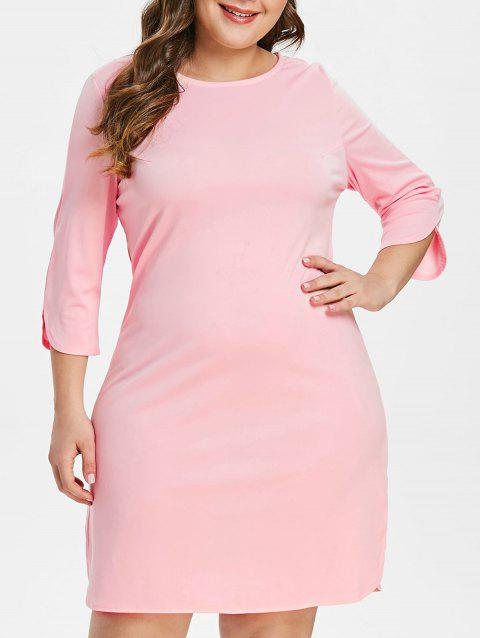 Round Neck Plus Size Shift Dress - LIGHT PINK 3X