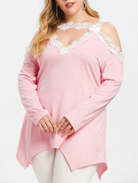 Cut Out Plus Size Asymmetrical T-shirt - PINK 1X