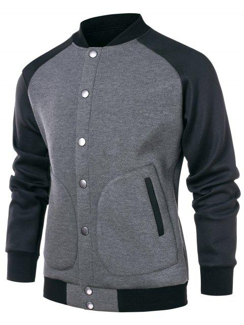 Raglan Sleeve Contrast Color Baseball Jacket - GRAY CLOUD M