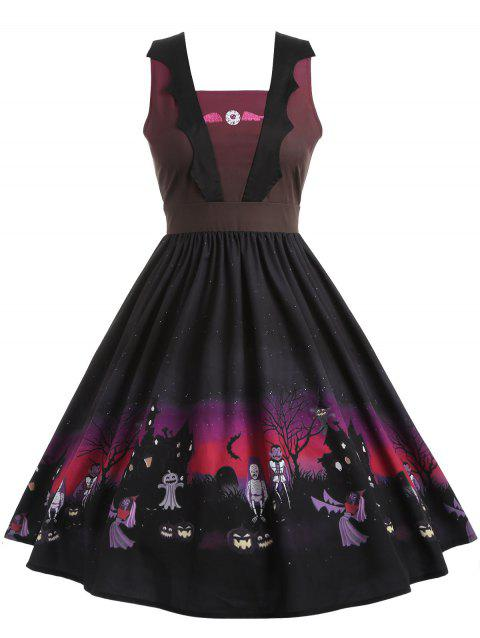 Plus Size Sleeveless Halloween Dress - BLACK 2X
